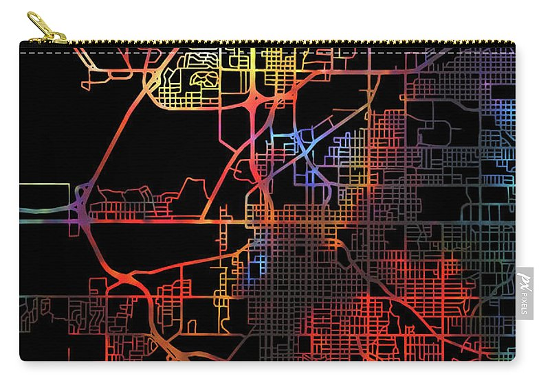 Lincoln Carry-all Pouch featuring the mixed media Lincoln Nebraska Watercolor City Street Map Dark Mode by Design Turnpike