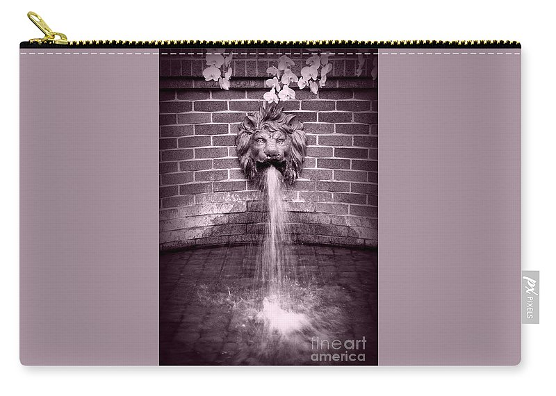 Fountain Carry-all Pouch featuring the photograph Lion Fountain Drama by Carol Groenen