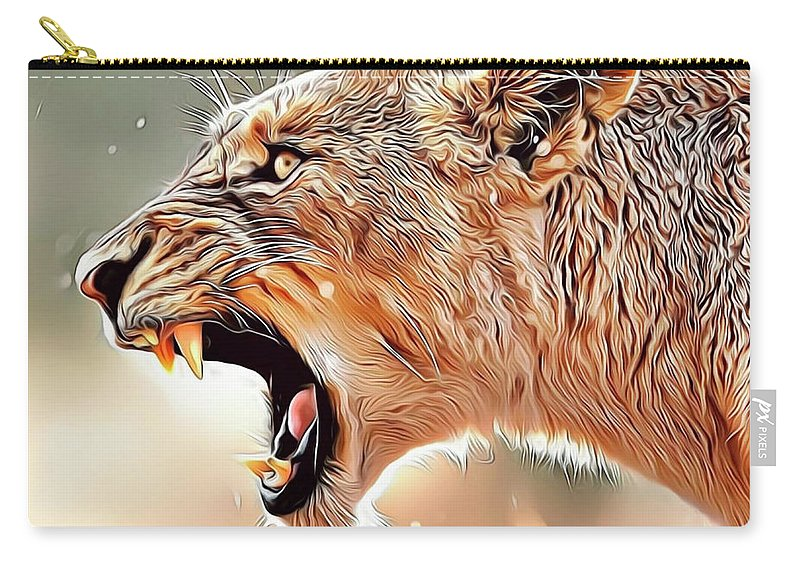 Lion Carry-all Pouch featuring the digital art Lioness by Russ Carts