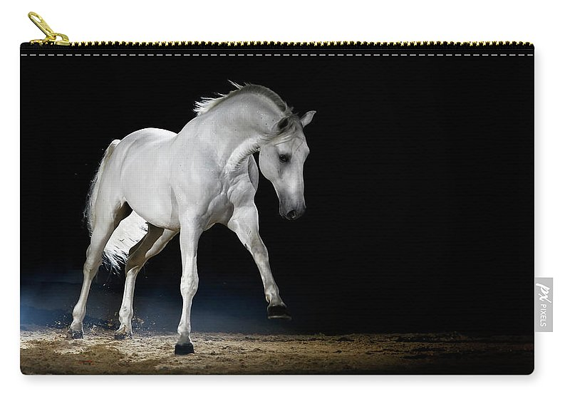 Horse Carry-all Pouch featuring the photograph Lipizzaner Horse Playing by Somogyvari