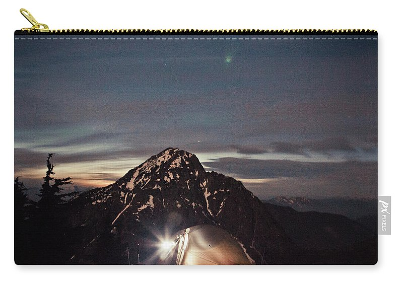 Camping Carry-all Pouch featuring the photograph Lit Tent At Night by Christopher Kimmel