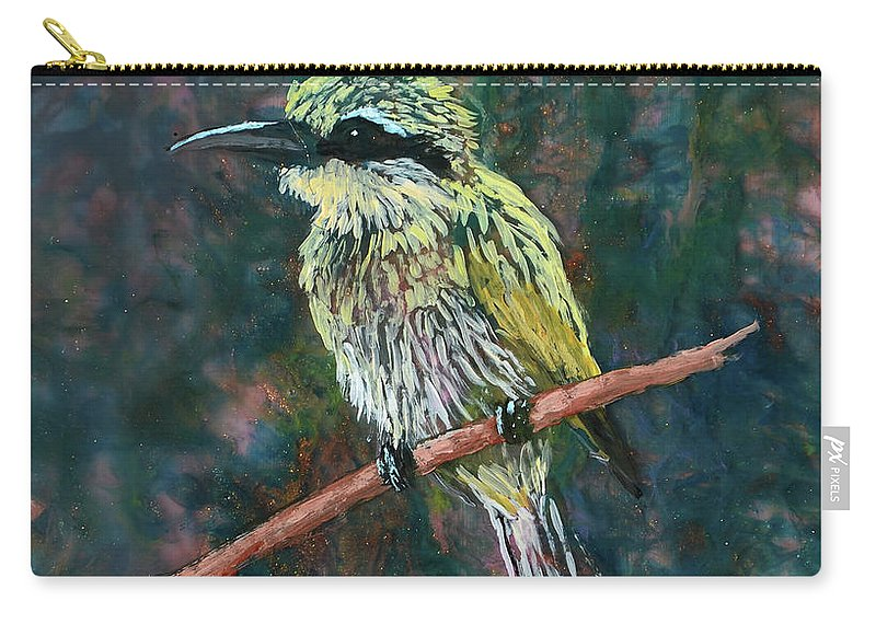 Little Bee Eater Carry-all Pouch featuring the mixed media Little Bee Eater by Melissa Peterson