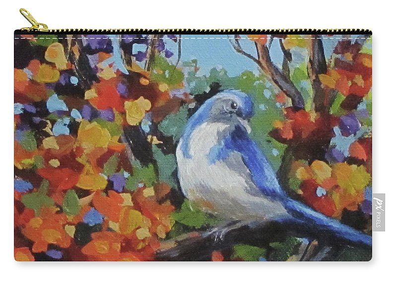 Birds Carry-all Pouch featuring the painting Little Jay by Karen Ilari