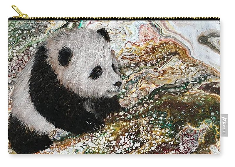 Panda Carry-all Pouch featuring the painting Little Panda2 by Francesca Kee
