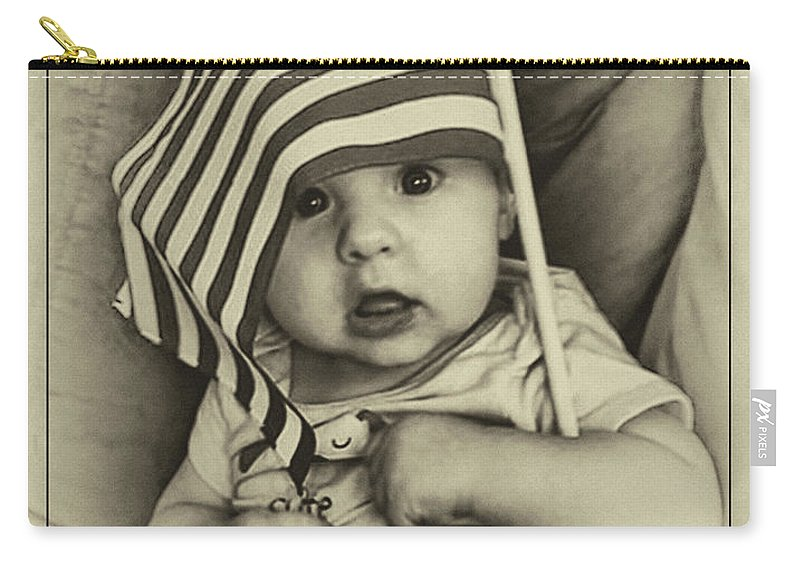 Boy Carry-all Pouch featuring the digital art Little Patriot by Rick Wiles