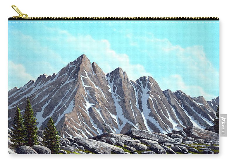Landscape Carry-all Pouch featuring the painting Lofty Peaks by Frank Wilson
