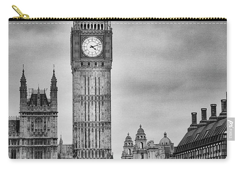 Clock Tower Carry-all Pouch featuring the photograph London, Big Ben, Black And White by Elisabeth Pollaert Smith