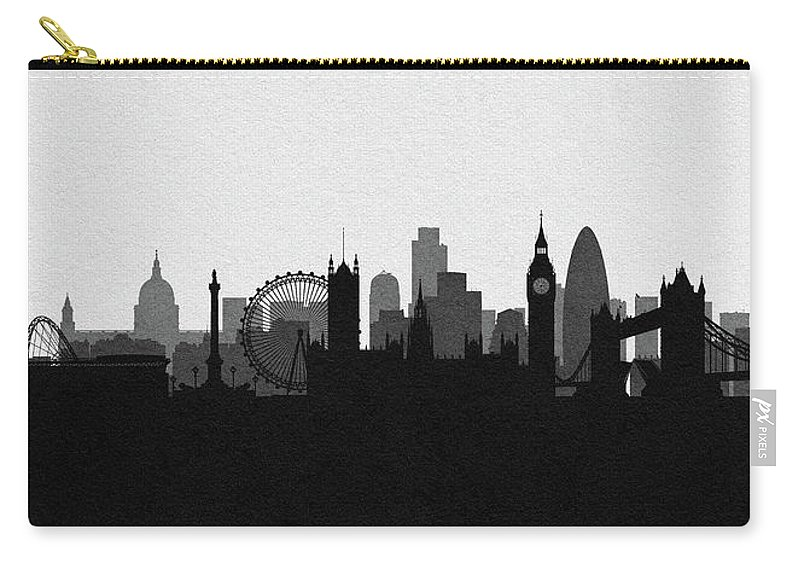 London Carry-all Pouch featuring the digital art London Cityscape Art by Inspirowl Design