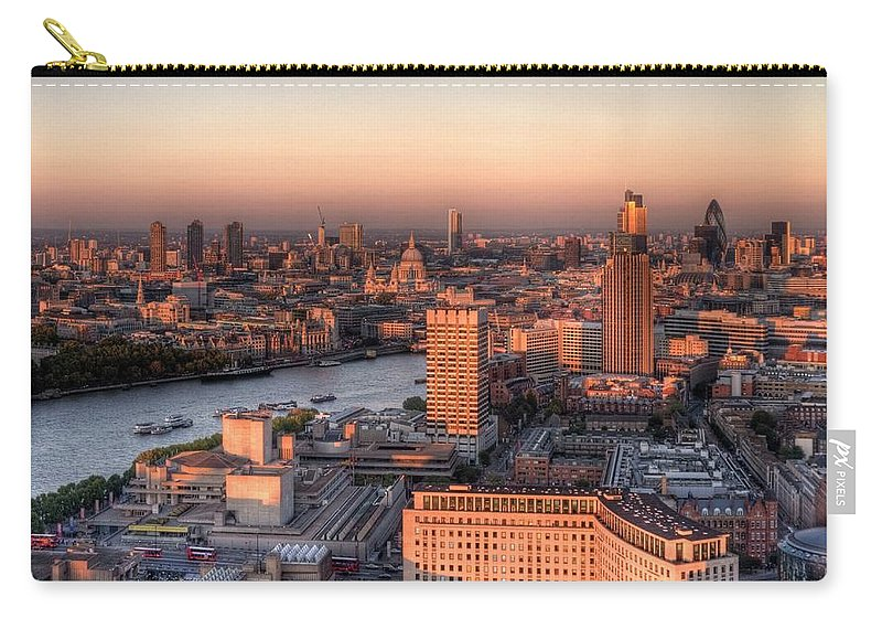 Cityscape Carry-all Pouch featuring the photograph London Cityscape At Sunset by Michael Lee