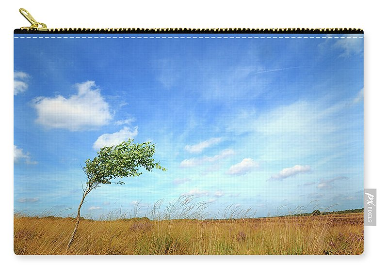 Scenics Carry-all Pouch featuring the photograph Lonesome Tree Swept By The Wind by Nikitje