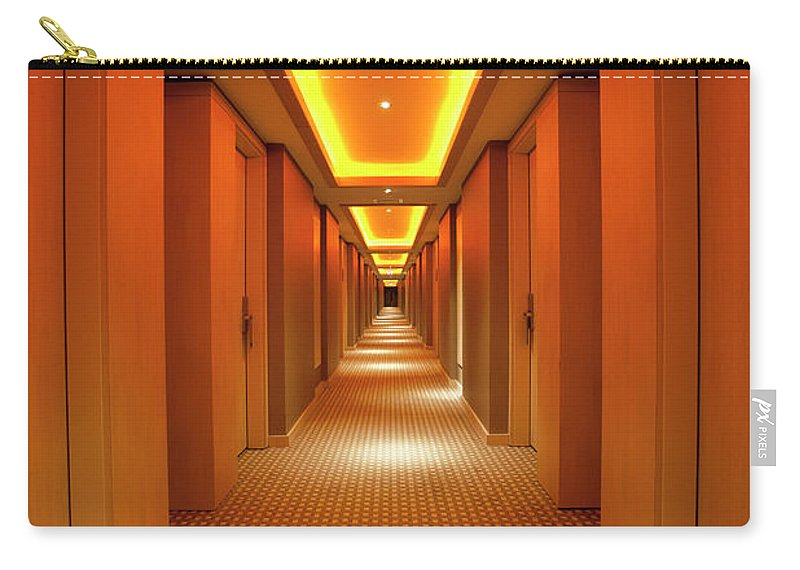 Long Carry-all Pouch featuring the photograph Long, Narrow Corridor With Retro Themed by Dogayusufdokdok