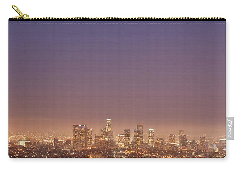 Scenics Carry-all Pouch featuring the photograph Los Angeles Skyline At Twilight by Uschools