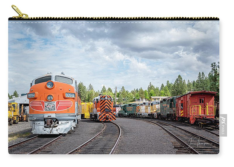 Caklifornia Carry-all Pouch featuring the photograph Lotsa Locomotives by Jim Thompson