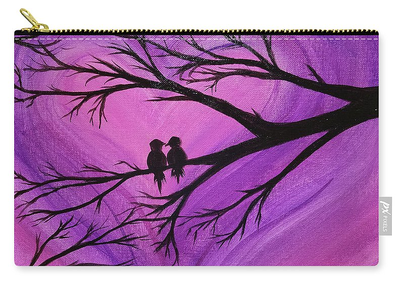 Love Birds Silhouette - Purple Carry-all Pouch