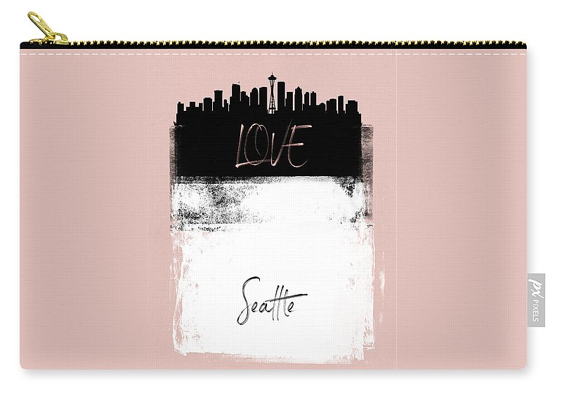 Seattle Carry-all Pouch featuring the mixed media Love Seattle by Naxart Studio