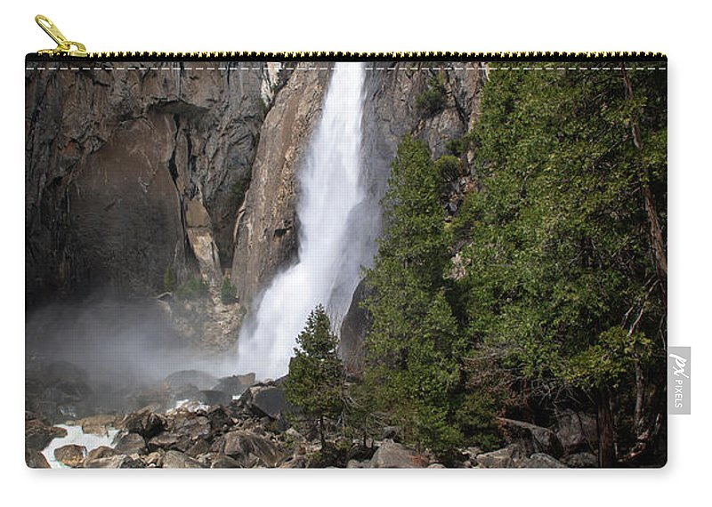 Upper And Lower Yosemite Falls Carry-all Pouch featuring the photograph Lower Yosemite Fall by Yefim Bam