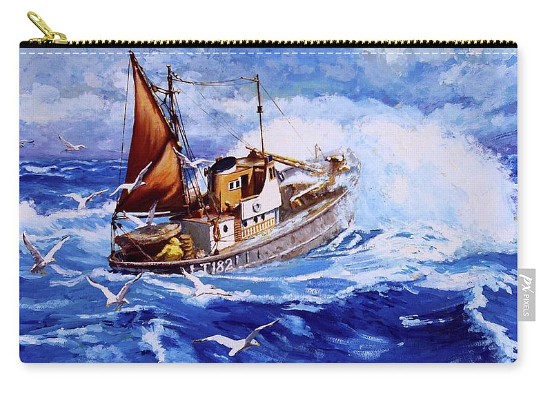 Seascape - Fishing Boat Carry-all Pouch featuring the painting Lowestoft Trawler by Anthony Palmer