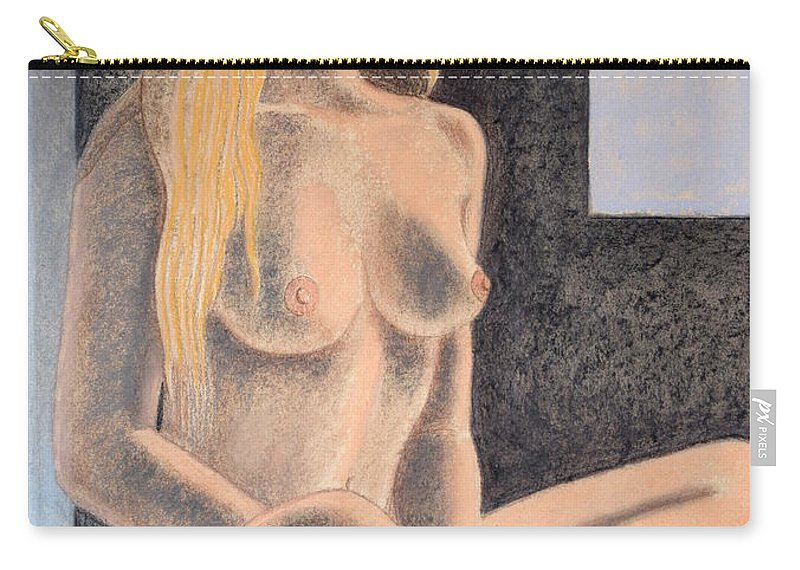 Italian Art Carry-all Pouch featuring the drawing Luce by Andrea Vandoni