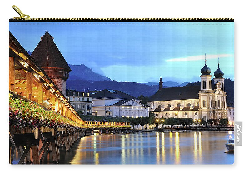 Built Structure Carry-all Pouch featuring the photograph Lucerne At Dusk by Aimintang