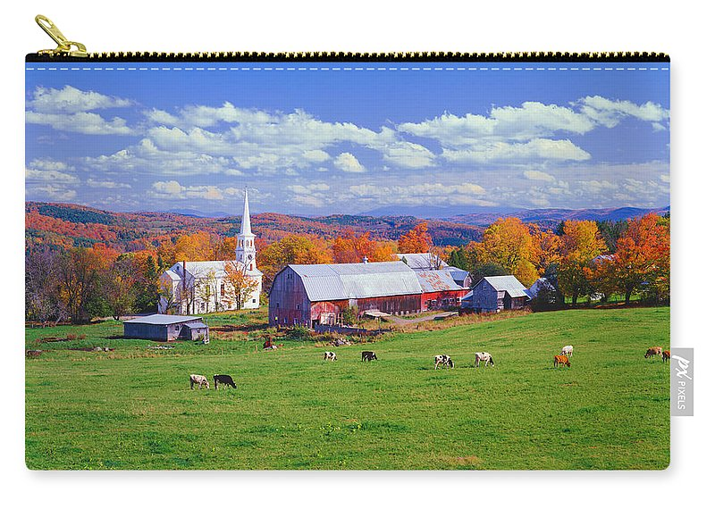 Scenics Carry-all Pouch featuring the photograph Lush Autumn Countryside In Vermont With by Ron thomas