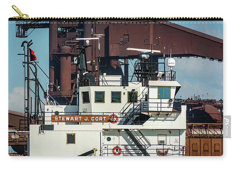 2018 Carry-all Pouch featuring the photograph M/v Stewart J. Cort by Christine Douglas