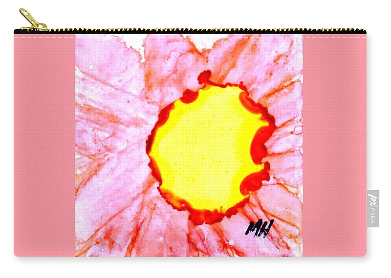 Alcohol Ink Painted On Porcelain Tile Carry-all Pouch featuring the painting Macro Gerbera Center On Tile by Marsha Heiken