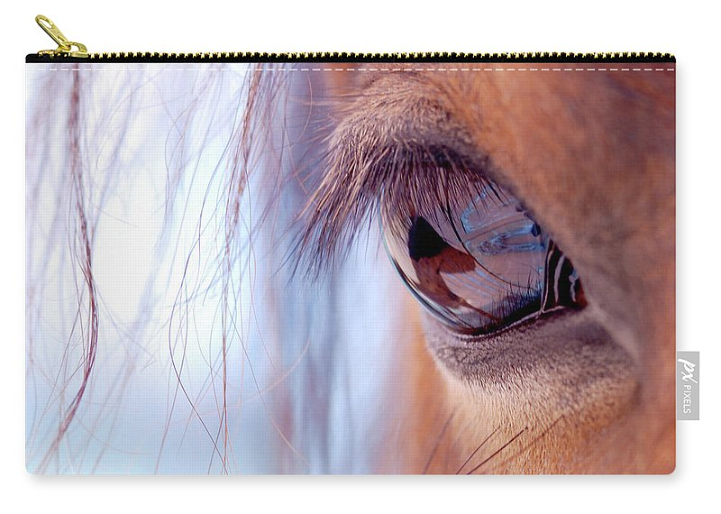 Horse Carry-all Pouch featuring the photograph Macro Of Horse Eye by Anne Louise Macdonald Of Hug A Horse Farm