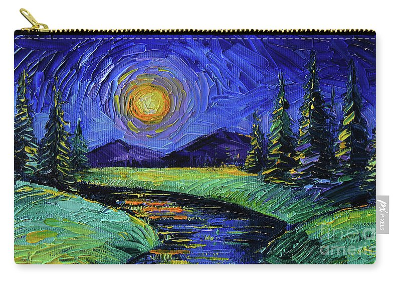 Magic Night Carry-all Pouch featuring the painting Magic Night - Detail 1 - Fantasy Landscape by Mona Edulesco