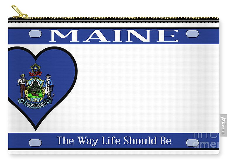 Maine Carry-all Pouch featuring the digital art Maine State License Plate by Bigalbaloo Stock
