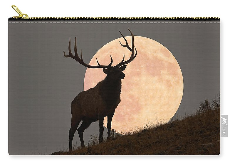 Horned Carry-all Pouch featuring the photograph Majestic Bull Elk And Full Moon Rise by Mark Miller Photos