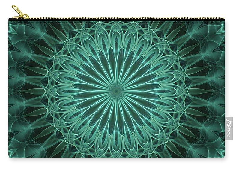 Mandala Carry-all Pouch featuring the digital art Malachite Green Mandala by Jaroslaw Blaminsky