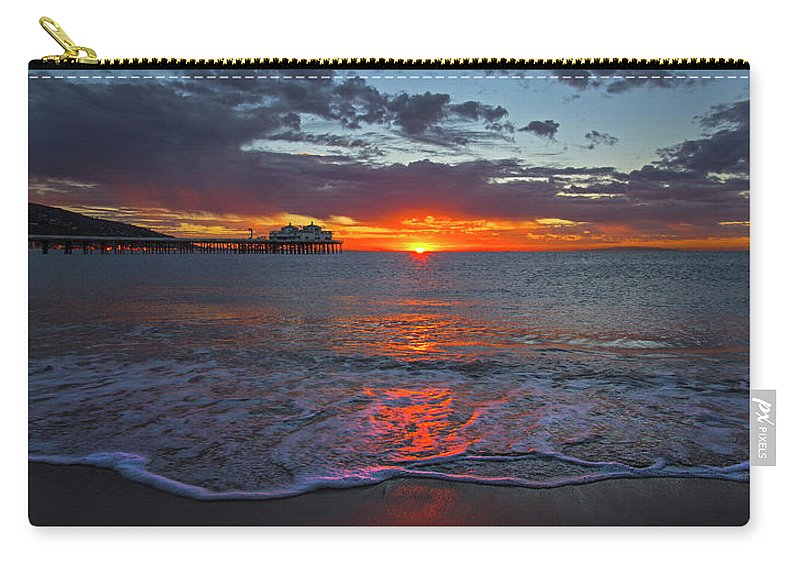 Malibu Carry-all Pouch featuring the photograph Malibu Pier Sunrise by John Rodrigues