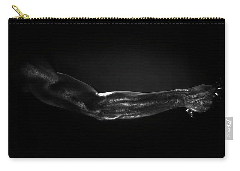Human Arm Carry-all Pouch featuring the photograph Man Holding Tennis Racket, B&w Digital by Hans Neleman