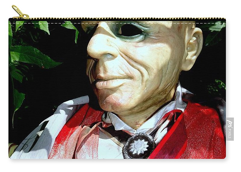 Photo Painting Carry-all Pouch featuring the digital art Man In Bushes by Ed Weidman