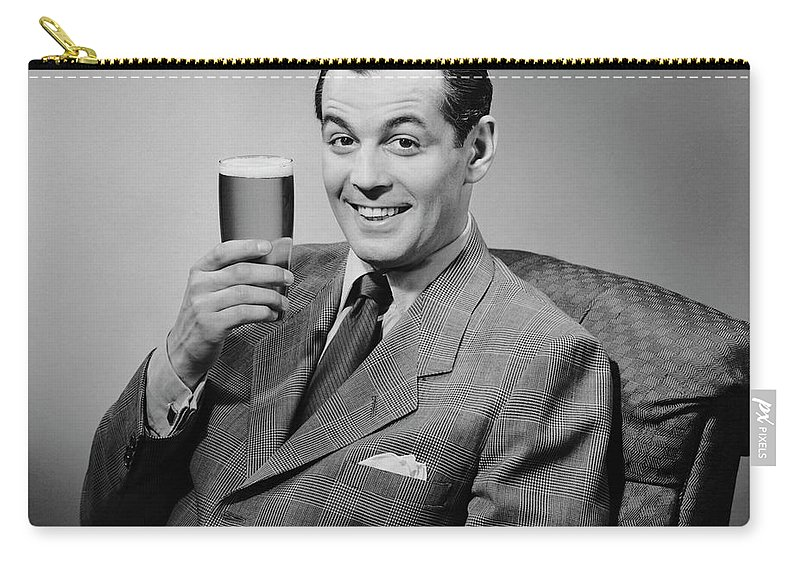 Mature Adult Carry-all Pouch featuring the photograph Man Sitting & Having A Beer by George Marks