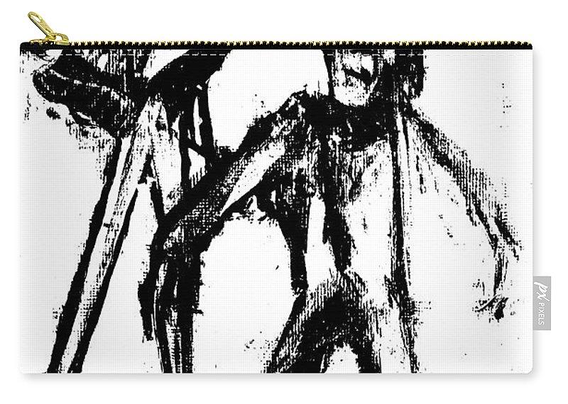 Bird Carry-all Pouch featuring the digital art Man Standing With A Bird by Edgeworth DotBlog