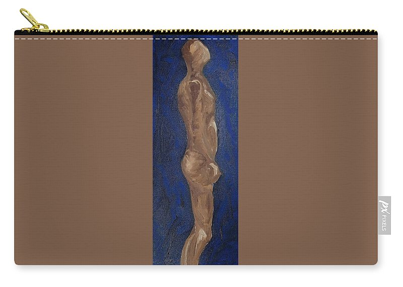 Male Figure Oil Painting Carry-all Pouch featuring the painting Man Staring by Bonnie Edmond
