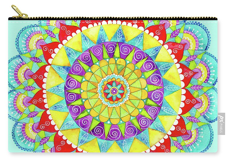Painting Carry-all Pouch featuring the painting Mandala Of Many Colors On Turquoise by Shelley Wallace Ylst