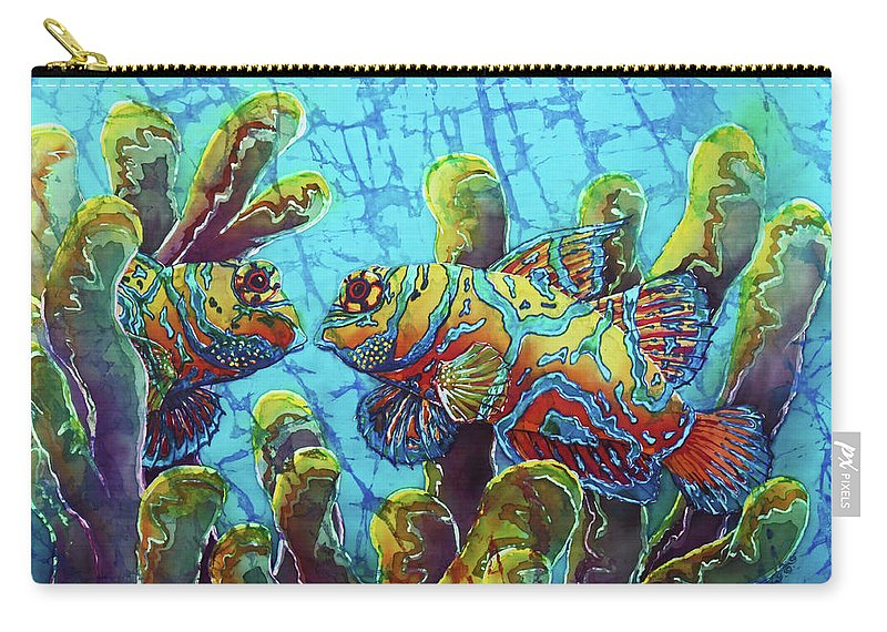 Mandarinfish Carry-all Pouch featuring the painting Mandarinfish by Sue Duda