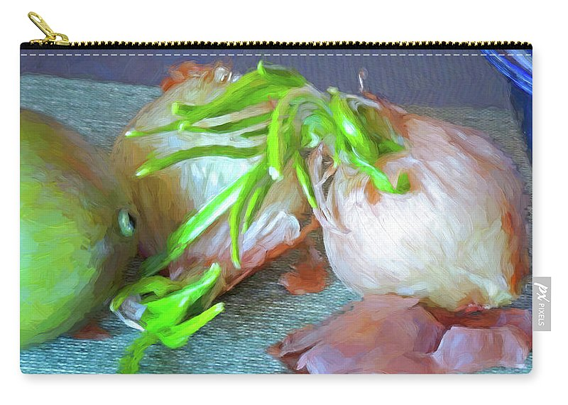 Kitchen Carry-all Pouch featuring the mixed media Mango And Two Onions by Lynda Lehmann
