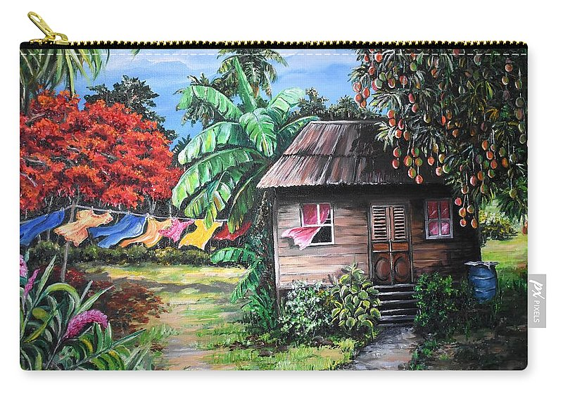 Old House Carry-all Pouch featuring the painting Mango Season by Karin Dawn Kelshall- Best
