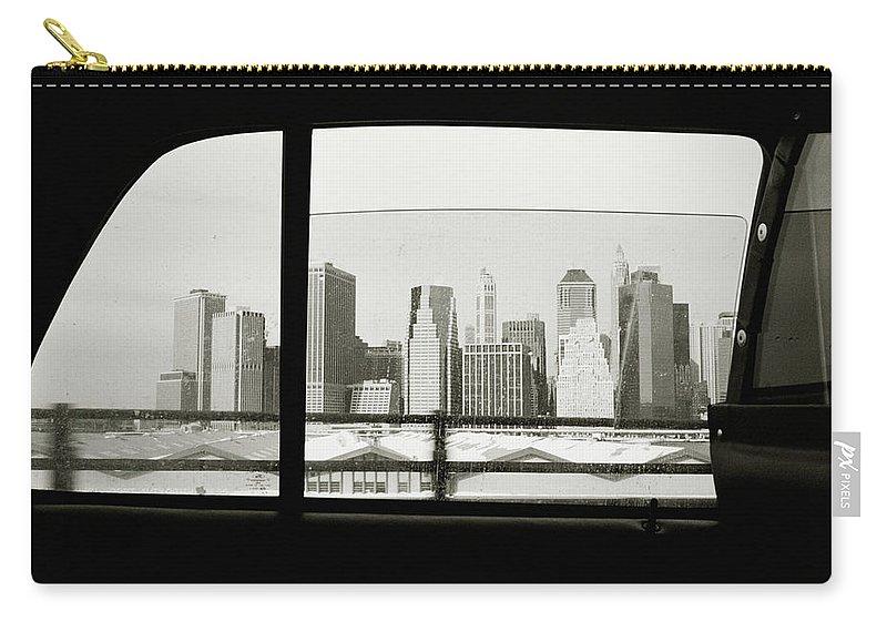 Car Interior Carry-all Pouch featuring the photograph Manhattan Through Car Window by Matt Carr
