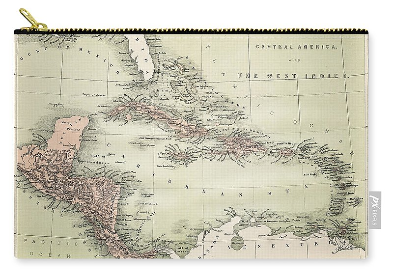 Barbados Carry-all Pouch featuring the digital art Map Od The Caribbean 1860 by Thepalmer
