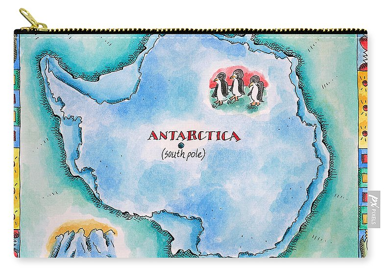 Watercolor Painting Carry-all Pouch featuring the digital art Map Of Antarctica by Jennifer Thermes