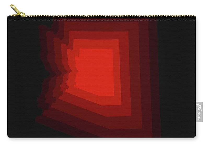 Carry-all Pouch featuring the digital art Map Of Arizona Red by Naxart Studio