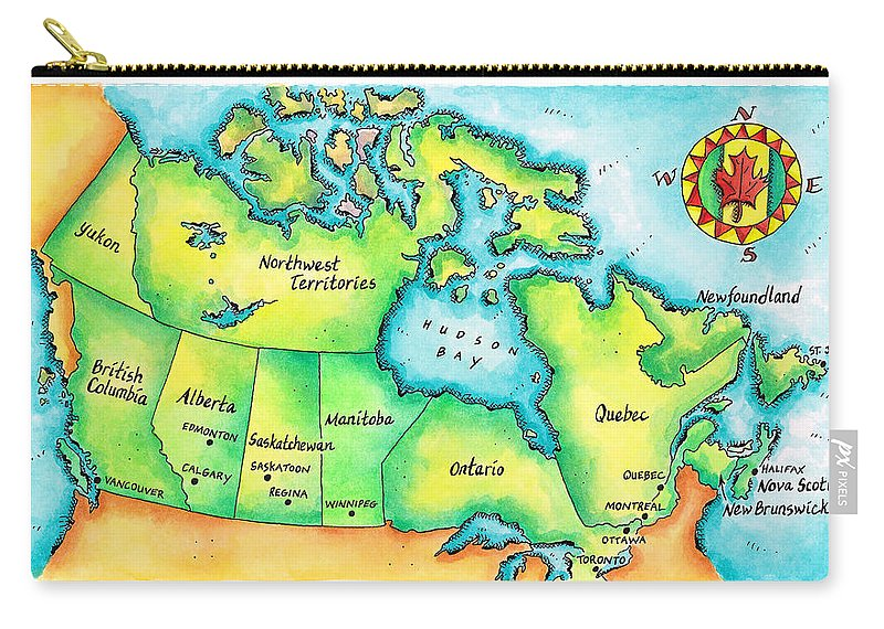 Watercolor Painting Carry-all Pouch featuring the digital art Map Of Canada by Jennifer Thermes