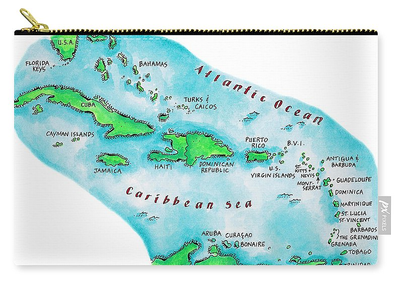 Watercolor Painting Carry-all Pouch featuring the digital art Map Of Caribbean Islands by Jennifer Thermes