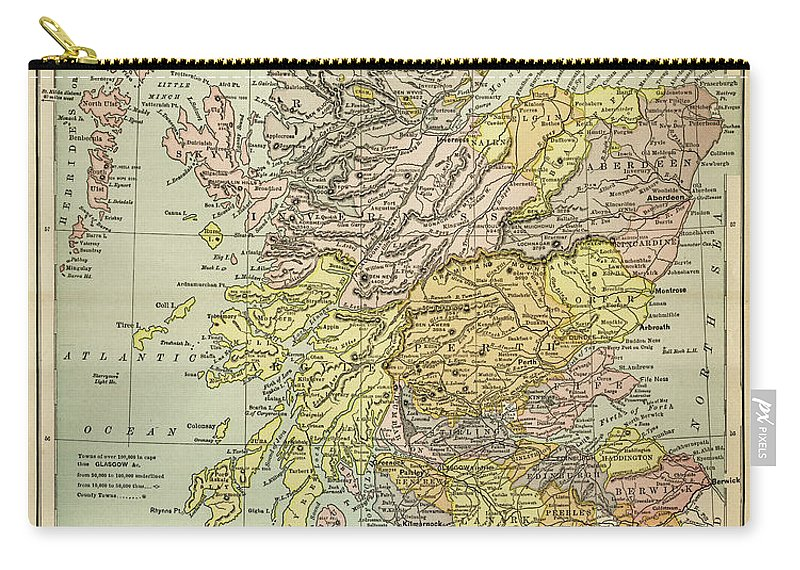 Vertical Carry-all Pouch featuring the digital art Map Of Scotland 1883 by Thepalmer