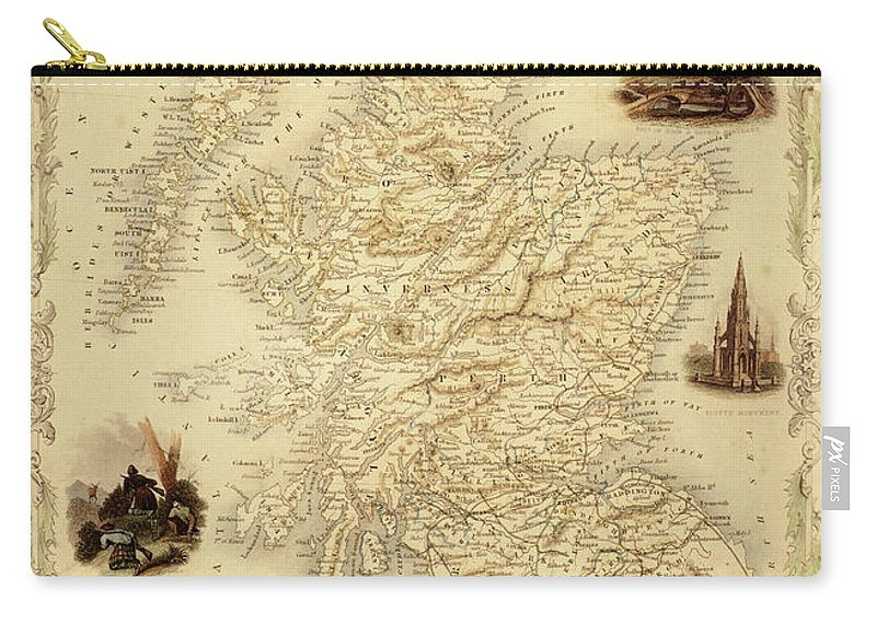 Journey Carry-all Pouch featuring the digital art Map Of Scotland From 1851 by Nicoolay