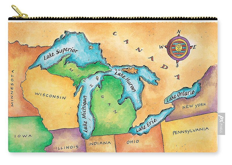 Lake Michigan Carry-all Pouch featuring the digital art Map Of The Great Lakes by Jennifer Thermes